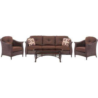 Gramercy 4-Piece All-Weather Wicker Patio Seating Set with Brown Cushions