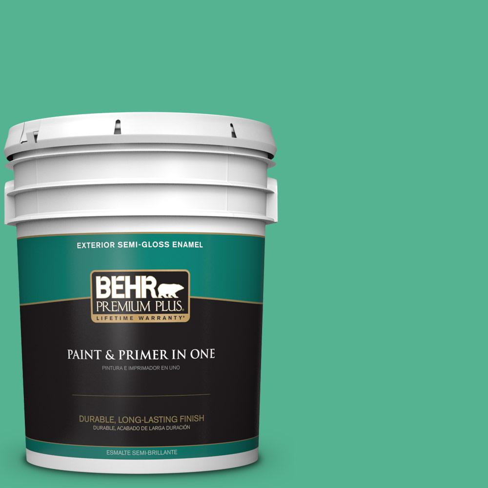 5 gal. #MQ4-16 Aruba Green Semi-Gloss Enamel Exterior Paint and Primer