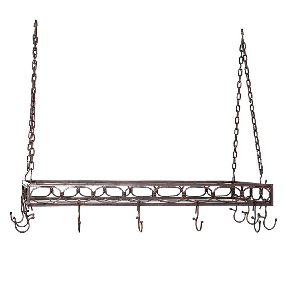 Old Dutch 36 in. x 17.75 in. x 3.25 in. Antique Bronze Rectangular Pot Rack with 16 Hooks-DISCONTINUED