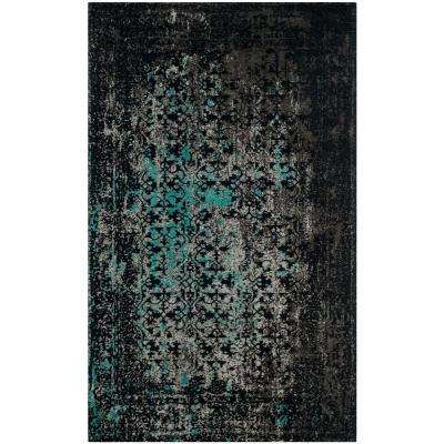Classic Vintage Navy/Teal 4 ft. x 6 ft. Area Rug