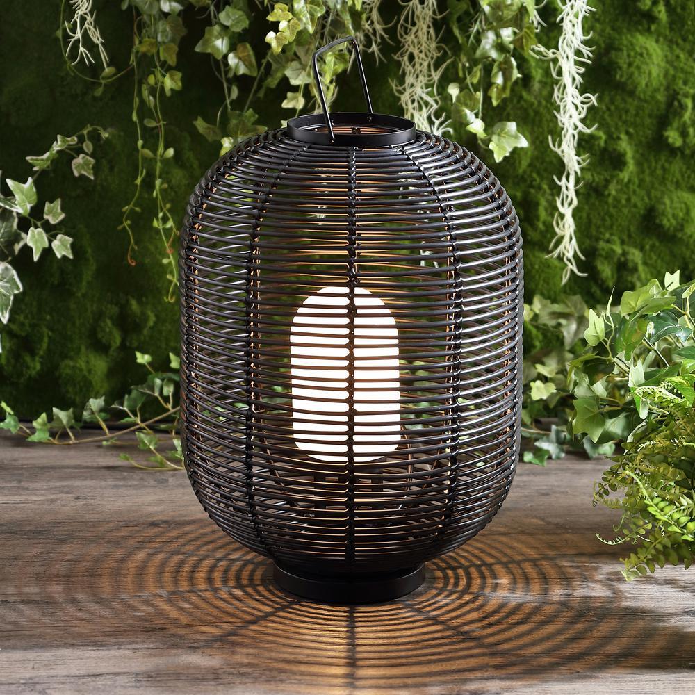 Kandella 26.7 in. Outdoor Woven Oval Asian LED Lantern, Black