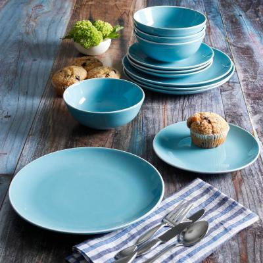 Home Pandora 12-Piece Contemporary Blue Ceramic Dinnerware Set (Service for 4)