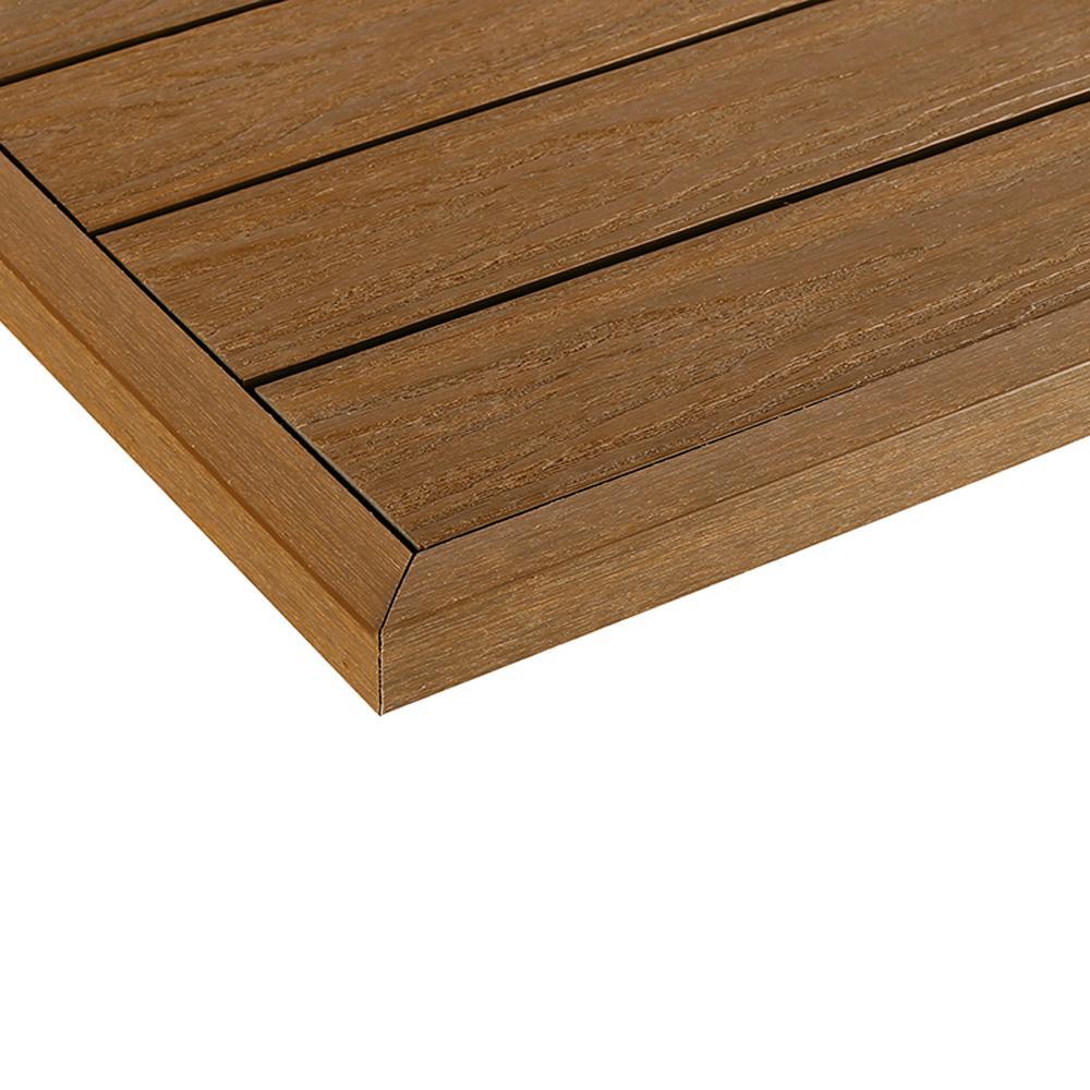 1/6 ft. x 1 ft. Quick Deck Composite Deck Tile Outside Corner Trim in Peruvian Teak (2-Pieces/Box)