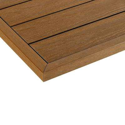 1/6 ft. x 13.95 in. Quick Deck Composite Deck Tile Outside End Corner Fascia in Peruvian Teak (2-Piece/Box)