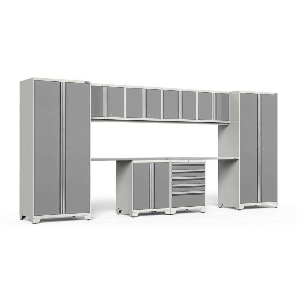 NewAge Products Pro Series 3.0 184 in. W x 85.25 in. H x 24 in. D 18-Gauge Welded Steel Garage Cabinet Set in Platinum (10-Piece)