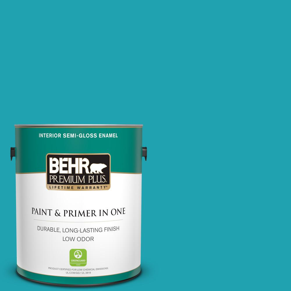 Behr Premium Plus 1 Gal 510b 6 Blue Jewel Semi Gloss Enamel Low Odor Interior Paint And Primer In One 330001 The Home Depot