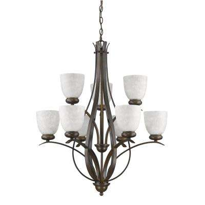Alana Indoor 9-Light Oil Rubbed Bronze Chandelier with Glass Shades