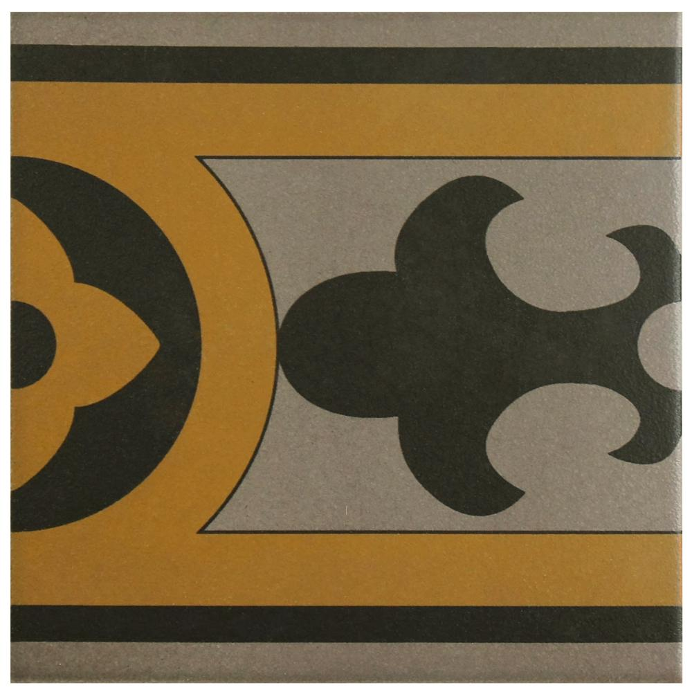 Merola Tile Cementi Quatro Cla Cenefa Encaustic 6 in. x 6 in. Porcelain  Floor and Wall Border Tile