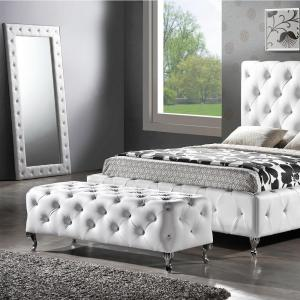 Click here to buy Baxton Studio Stella 71 inch H x 31 inch W Crystal Tufted White Faux Leather Upholstered Floor Mirror by Baxton Studio.