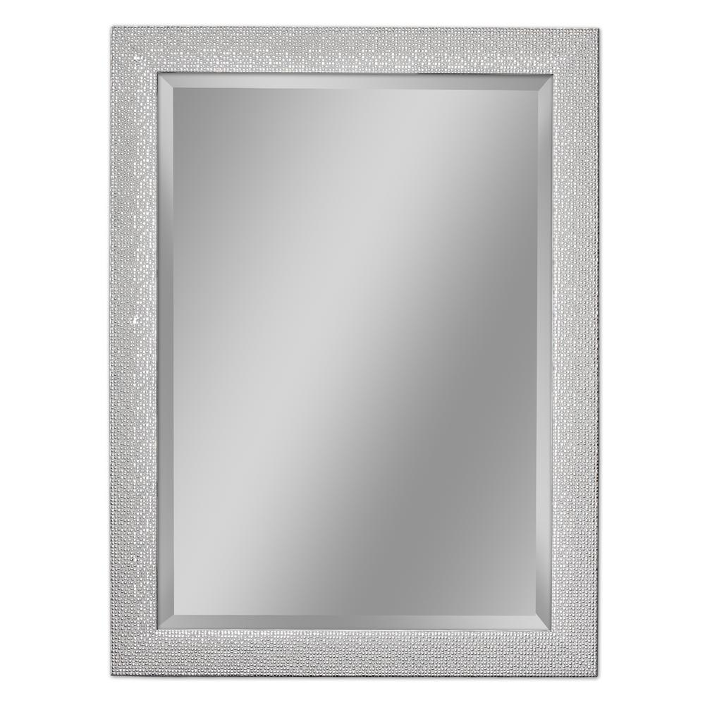 Deco Mirror 355 In W X 455 In H Squares Wall Mirror In Chrome