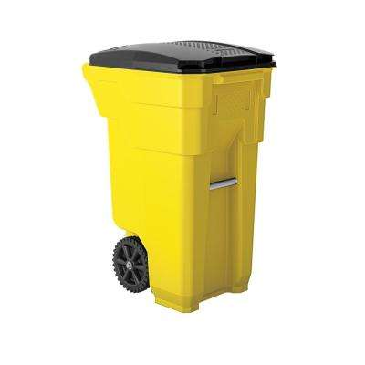 32 Gal. Yellow Plastic Curbside Commercial Trash Can with Wheels And Attached Lid