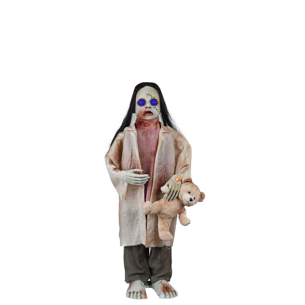 36 in. Animated Zombie Girl with Teddy Bear and LED Eyes