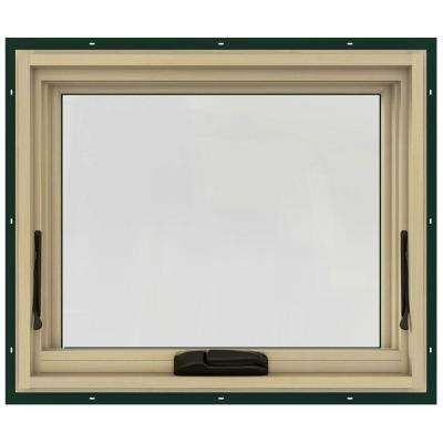 24 in. x 20 in. W-2500 Series Green Painted Clad Wood Awning Window w/ Natural Interior and Screen