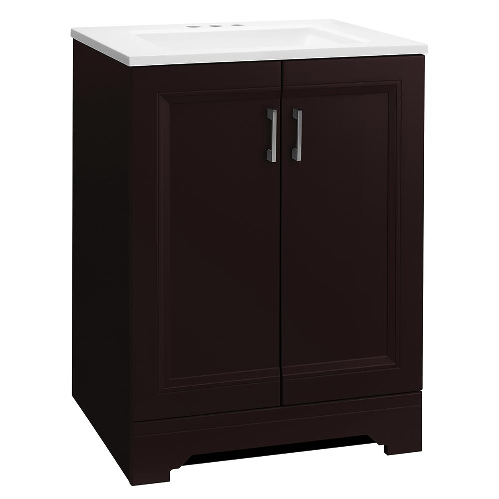 Glacier Bay Willowridge 24-1/2 in. W Bath Vanity in Carob with Cultured Marble Vanity Top in White with White Sink