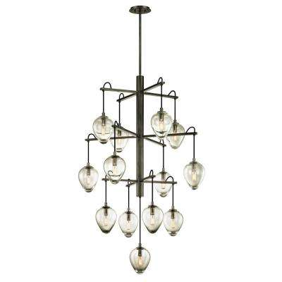 Brixton 13-Light Gunmetal 36 in. W Pendant with Clear Glass