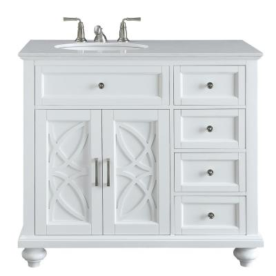 Colford 38 in. W x 22 in. D Bath Vanity in White with Marble Vanity Top in White with White Basin