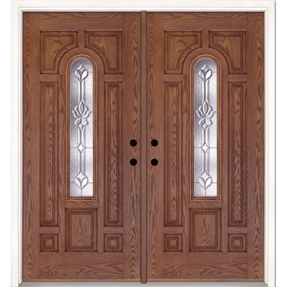 Feather River Doors 74 In X In Medina Zinc Center Arch Lite Stained Medium Oak Right
