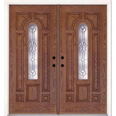 74 in. x 81.625 in. Medina Zinc Center Arch Lite Stained Medium Oak Right-Hand Fiberglass Double Prehung Front Door