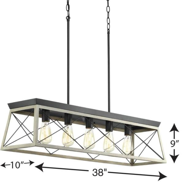 Progress Lighting Briarwood Collection Five Light Linear Chandelier P400048 143 The Home Depot