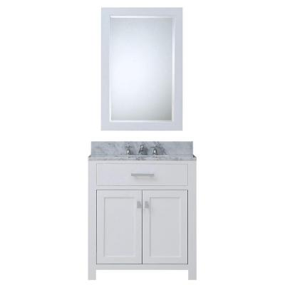 30 in. W x 21 in. D Vanity in White with Marble Vanity Top in Carrara White, Mirror and Chrome Faucet