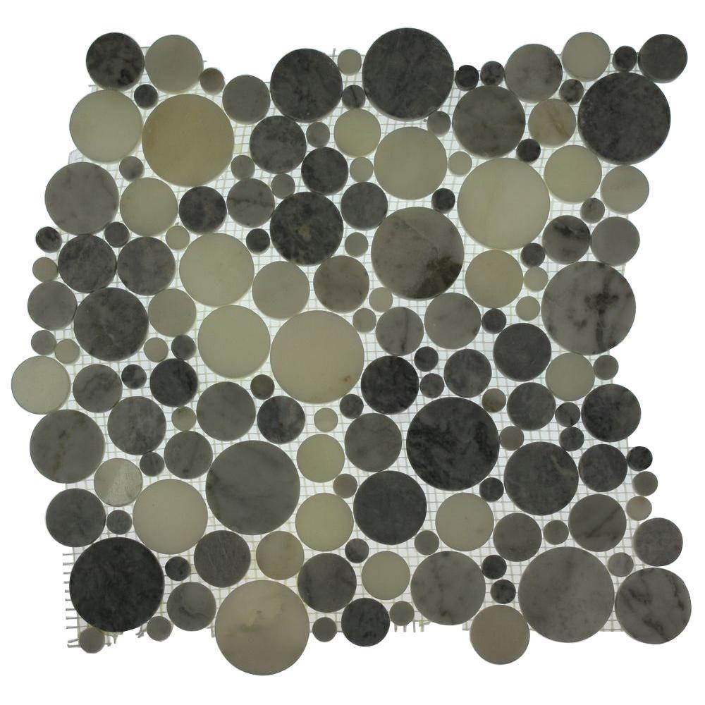 Splashback Tile Orbit Foggy Circles Mosaic Floor and Wall Tile