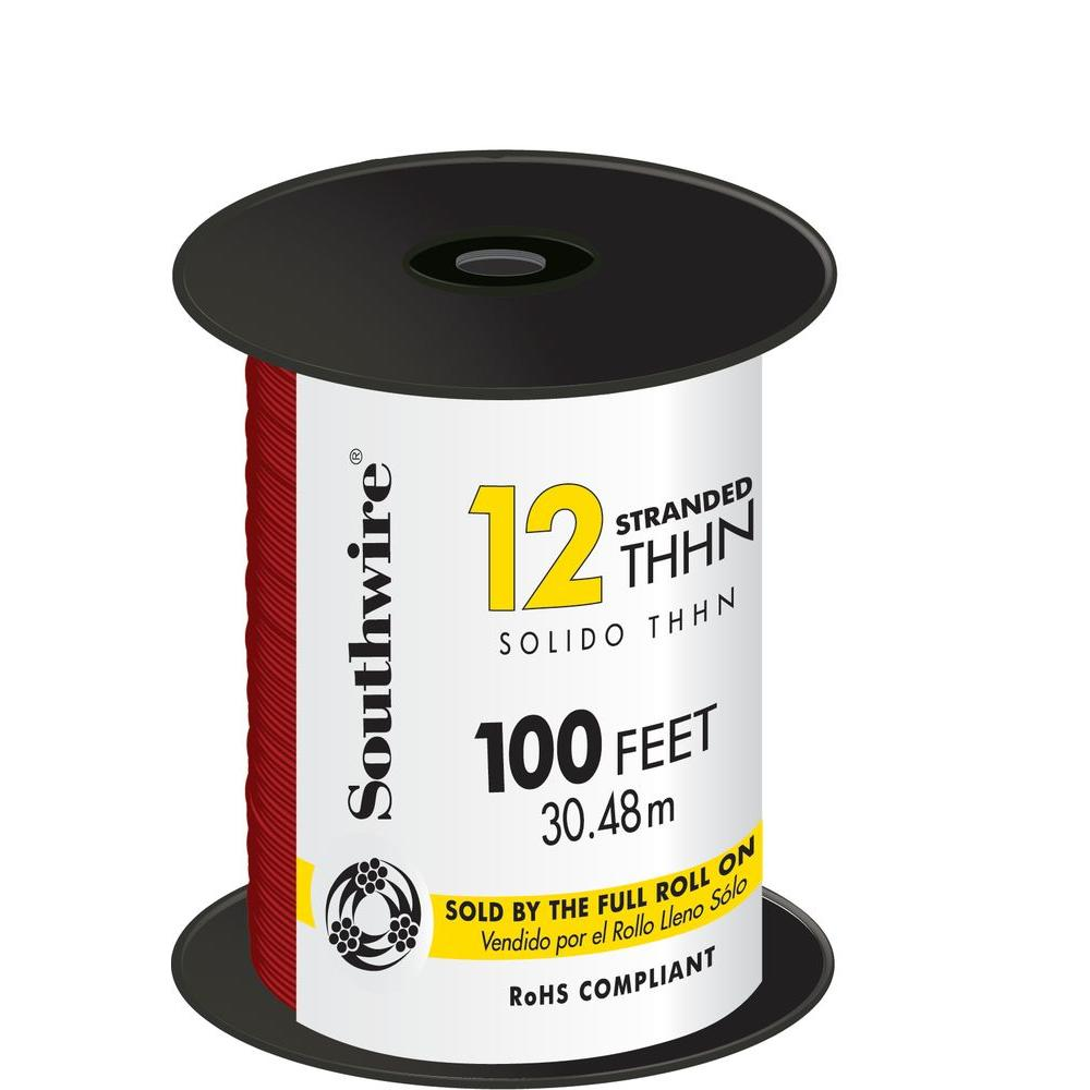 Southwire 100 ft. 12-Gauge Red Stranded CU THHN Wire