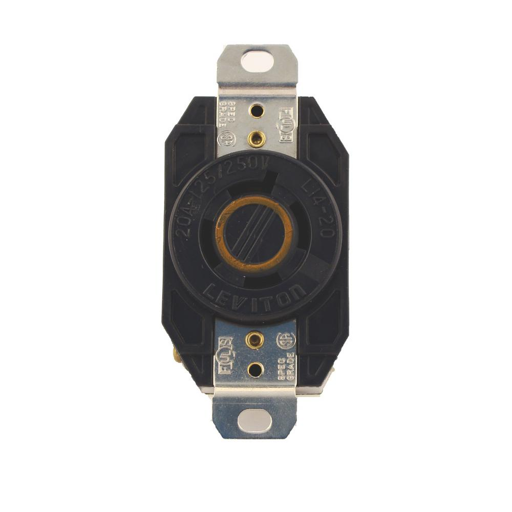 Leviton 60 Amp 250 Volt Flush Mounting Grounding Outlet Black 8460