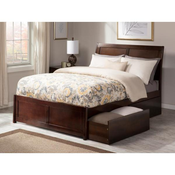 Atlantic Furniture Portland Queen Platform Bed With Matching Foot Board With 2 Urban Bed Drawers In Walnut Ar8946114 The Home Depot