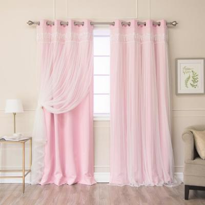 New Pink 96 in. L Elis Lace Overlay Blackout Curtain Panel in (2-Pack)