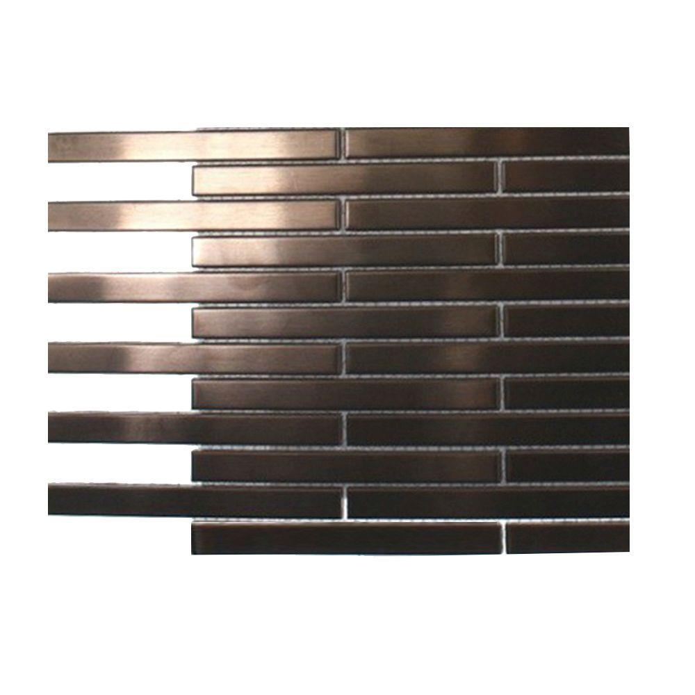 Splashback Tile Metal Rouge Stainless Steel Stick Brick Floor and Wall Tiles - 6 in. x 6 in. x 8 mm Tile Sample
