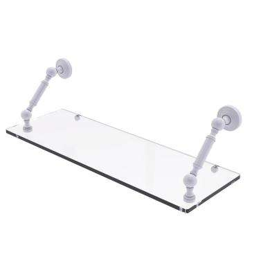 Waverly Place Collection 24 in. Floating Glass Shelf in Matte White