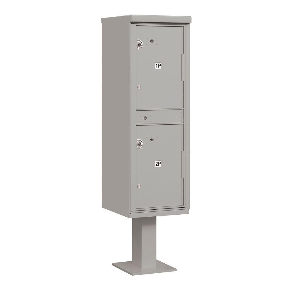 Salsbury Industries 3300 Series USPS 2-Compartments Outdoor Parcel Locker in Gray