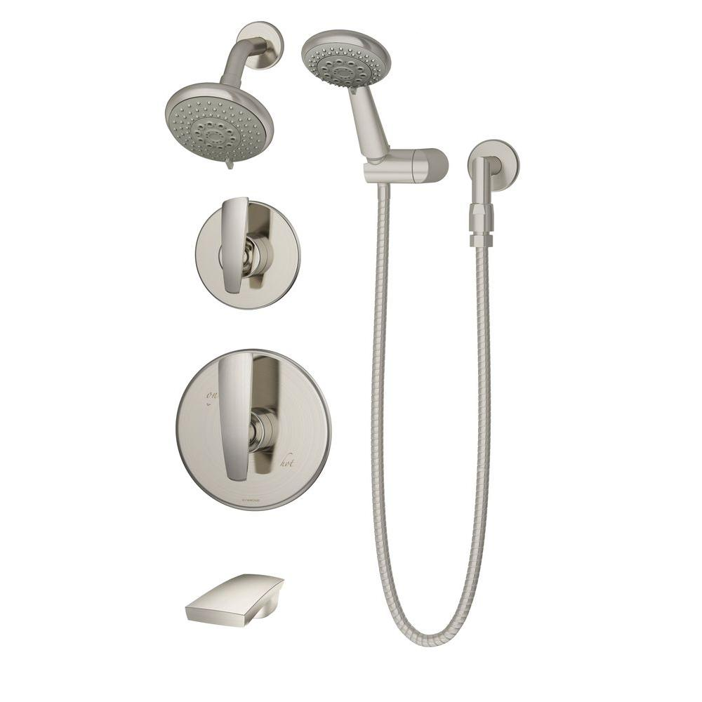 Naru Single-Handle 3-Spray Tub and Shower Faucet in Satin Nickel (Valve