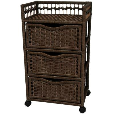 3-Drawer Mocha Wheeled Natural Fiber Trunk