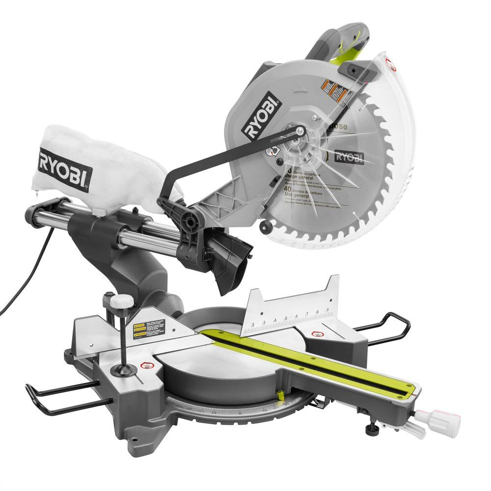 Ryobi 15 amp 12 in sliding miter saw with laser tss120l the home sliding miter saw with laser greentooth Choice Image