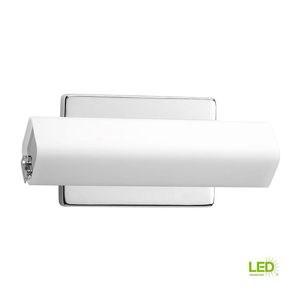 Progress Lighting Wedge Collection 15-Watt Polished Chrome Integrated LED Linear Bathroom Vanity Light with Glass Shades