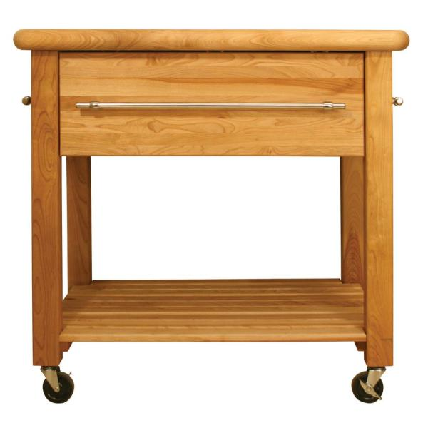Grand Natural Wood Kitchen Cart with Wine Rack