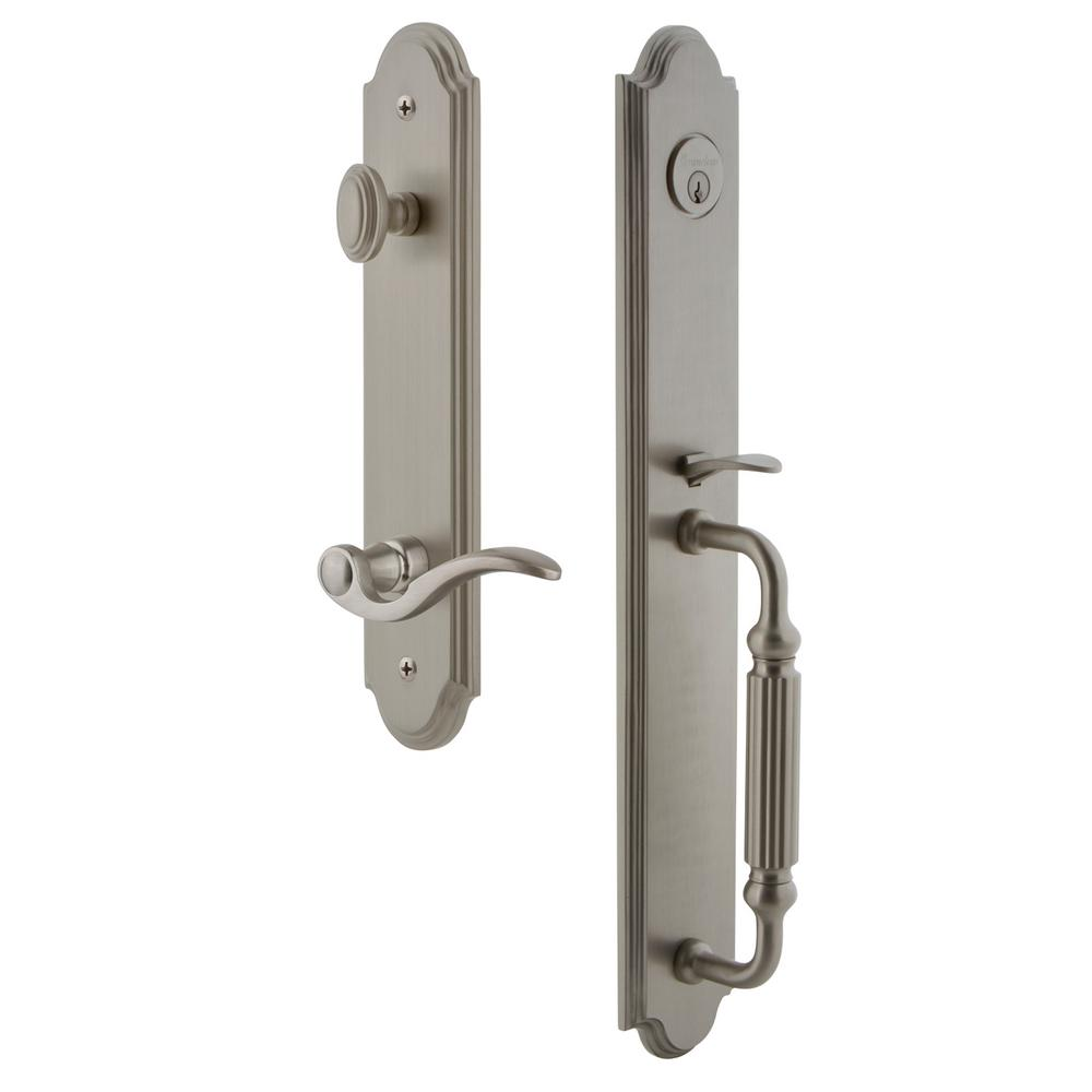 Grandeur Arc Satin Nickel 1-Piece Dummy Door Handleset with F Grip and Bellagio Lever