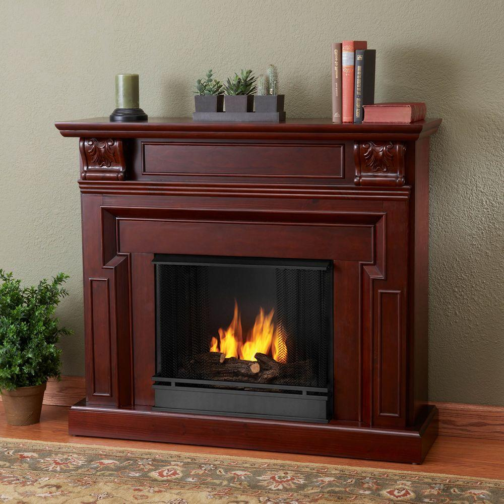 Real Flame Kristine 46 in. Gel Fuel Fireplace in Mahogany
