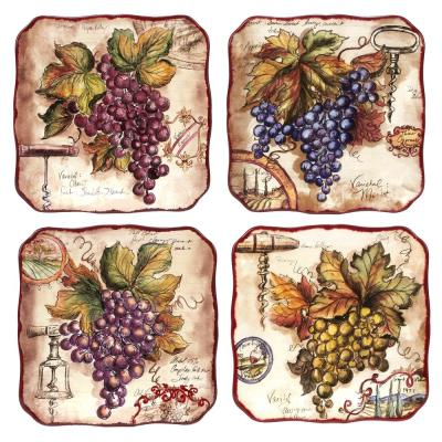 Vintners Journal 4-Piece Traditional Multi-Colored Ceramic Salad Plate Set (Service for 4)