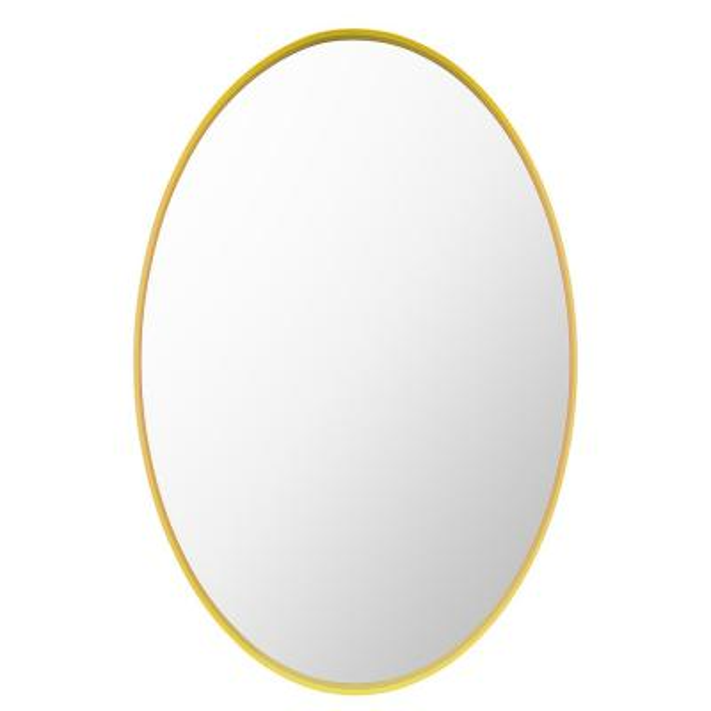Kaley 26 in. W x 38 in. H Framed Oval Craft Bathroom Vanity Mirror in Gold