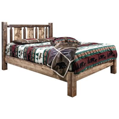 Homestead Collection Medium Brown California King Laser Engraved Wolf Motif Platform Bed