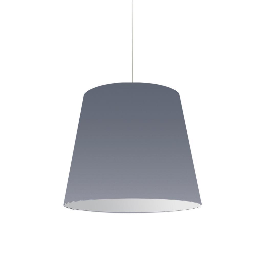 Oversized Drum 1-Light Grey Pendant with Grey/White Shade