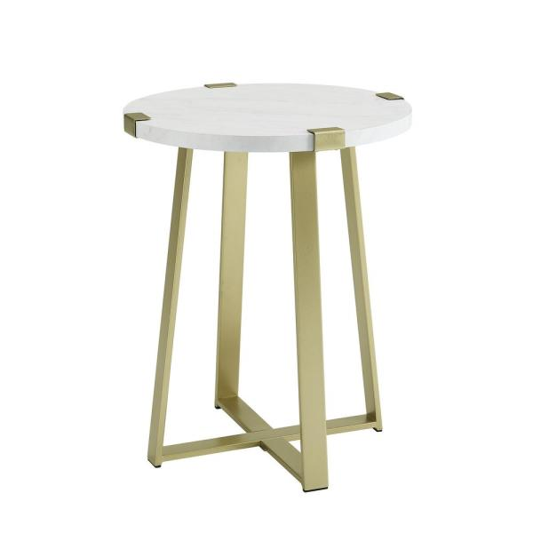 18 in. Faux Marble Gold Urban Industrial Wood and Metal Wrap Round Accent Side Table