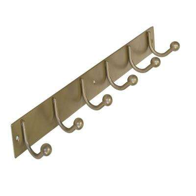 19-1/2 in. Hook Rack Pewter Metal 6 Single Hook Bar