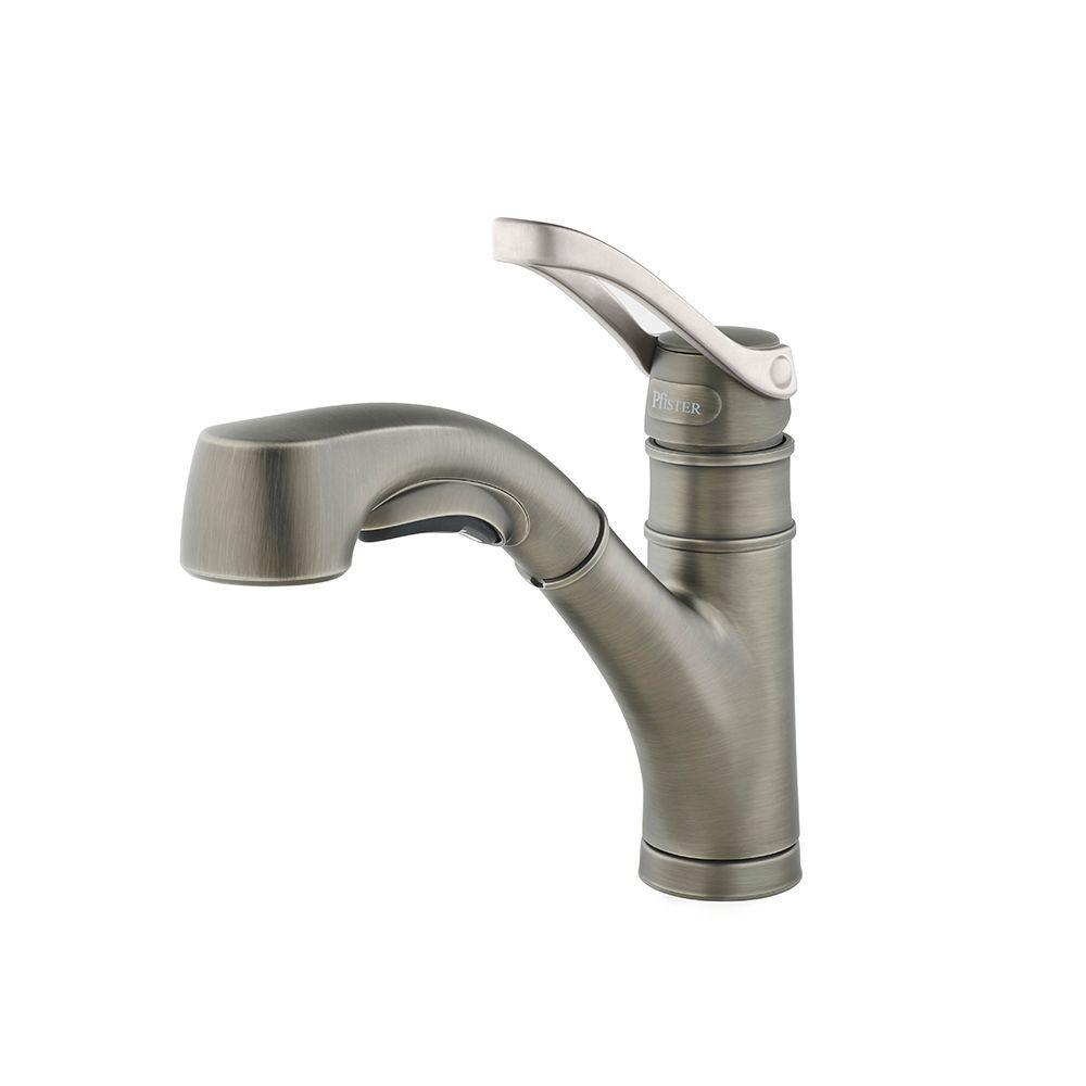 Pfister Prive Single-Handle Pull-Out Sprayer Kitchen Faucet in Slate ...
