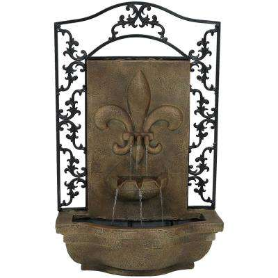 French Lily Florentine Stone Electric Powered Outdoor Wall Fountain