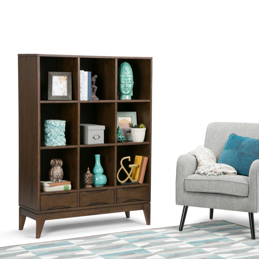 Harper Walnut Brown Storage Open Bookcase
