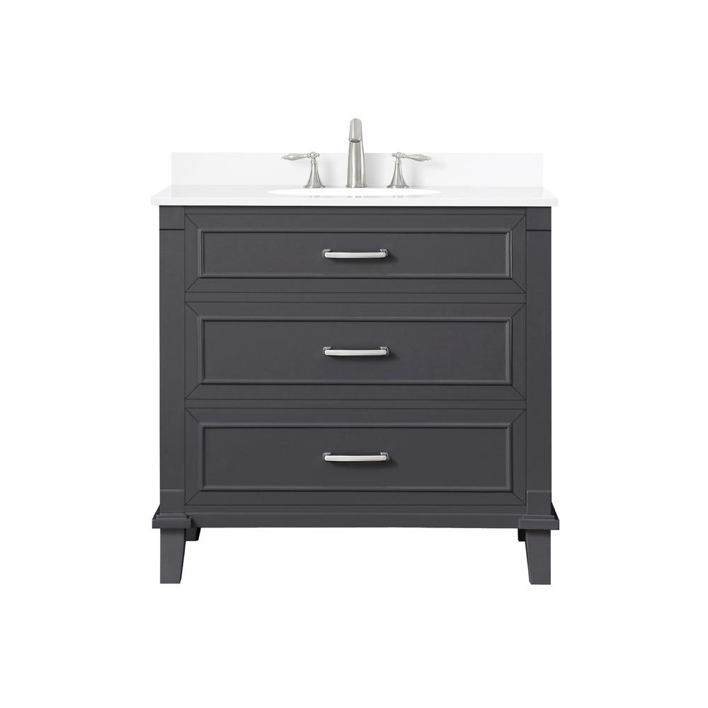 Home Decorators Collection Pinestream 36 in. W x 22 in. D Bath Vanity in Dark Charcoal with Cultured Stone Vanity Top in White with White Basin