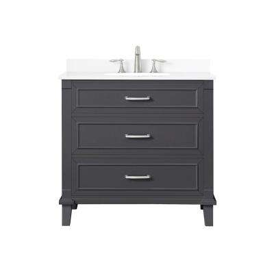 Pinestream 36 in. W x 22 in. D Bath Vanity in Dark Charcoal with Cultured Stone Vanity Top in White with White Basin